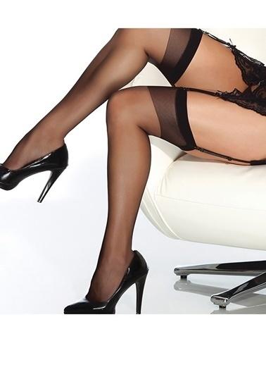 Merry See  Siyah Dantelsiz Jartiyer Çorabı Siyah